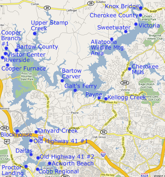 Parks and day use areas at lake allatoona for Lake acworth fishing