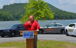 """Georgia's Director of Highway Safety Harris Blackwood addressed """"Choose Your Ride"""" at the 5-23-14 news conference on Lake Allatoona. ~~ Photograph by Robert Sutherland"""
