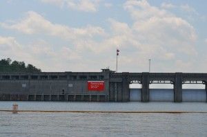 Navigation lights at Lake Allatoona Dam are temporarily malfunctioning.  ~~  Photograph by Robert Sutherland